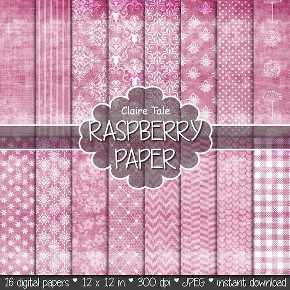 """Shabby chic digital paper: """"RASPBERRY SHABBY CHIC"""" with raspberry damask, crosshatch, flowers, lace, polka dots, stripes, hearts, gingham"""