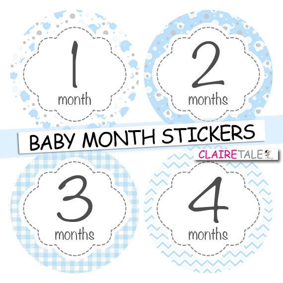 Baby boy month stickers pale blue  INSTANT DOWNLOAD stickers / monthly stickers baby shower gift