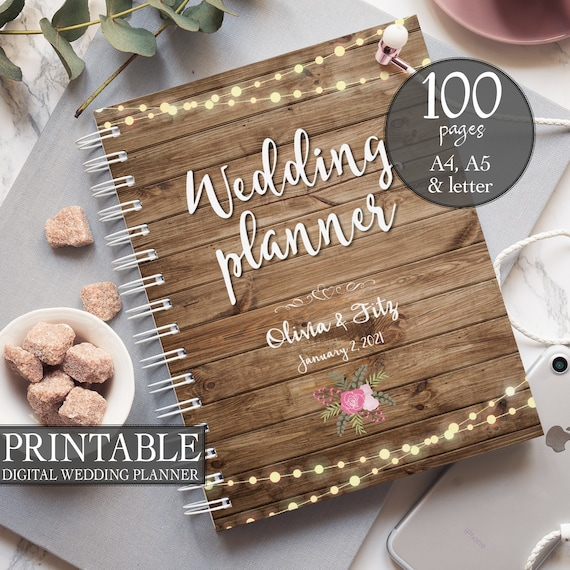 Rustic wedding binder, Printable wedding planner, Wood wedding binder, DIY wedding binder, Wedding checklist,  Wedding to do list