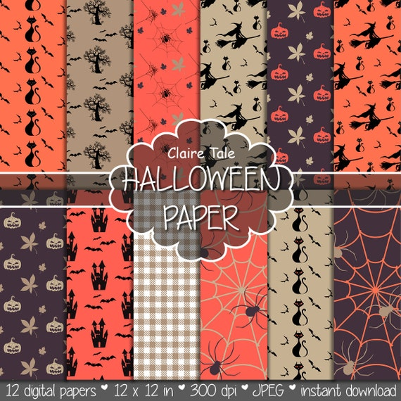 Halloween digital paper: HALLOWEEN PAPER with pumpkins, spiders, bats, witches / Halloween background / Halloween patterns in orange, beige