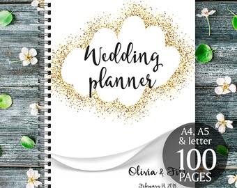 Gold wedding planner, Gold wedding binder, Gold wedding checklist, Gold printable planner, Gold wedding to do list, Wedding PDF planner