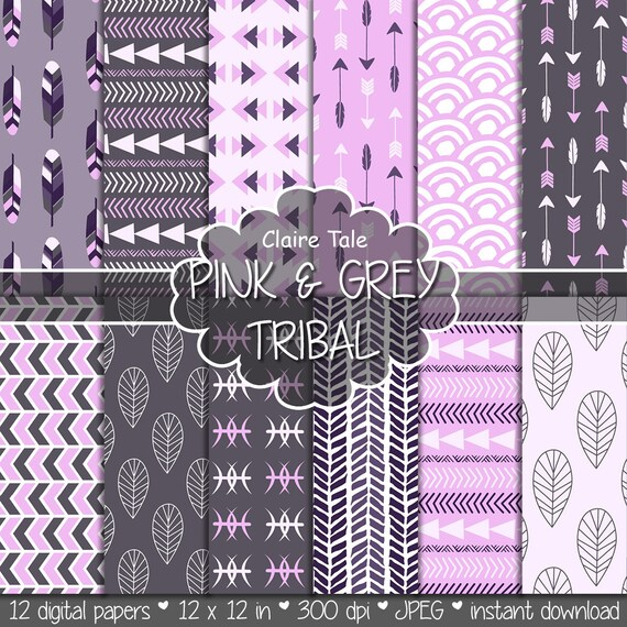 "Tribal digital paper: ""PINK & GREY TRIBAL"" with tribal patterns and tribal backgrounds, arrows, feathers, leaves, chevrons in grey and pink"
