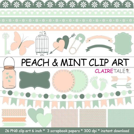 "Digital ""PEACH & MINT CLIPART"" frames, ribbons, borders, flags, arrows, butterfly, lights, hearts, mason jar, key, bird cage, baby shower"
