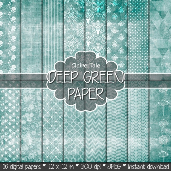 """Shabby chic digital paper: """"GREEN SHABBY CHIC"""" with deep green damask, crosshatch, flowers, lace, polka dots, stripes, hearts, gingham"""