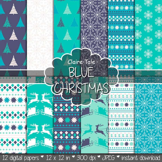 "Christmas digital paper: ""BLUE CHRISTMAS"" christmas backgrounds with deers, santa, snowflakes, christmas trees"