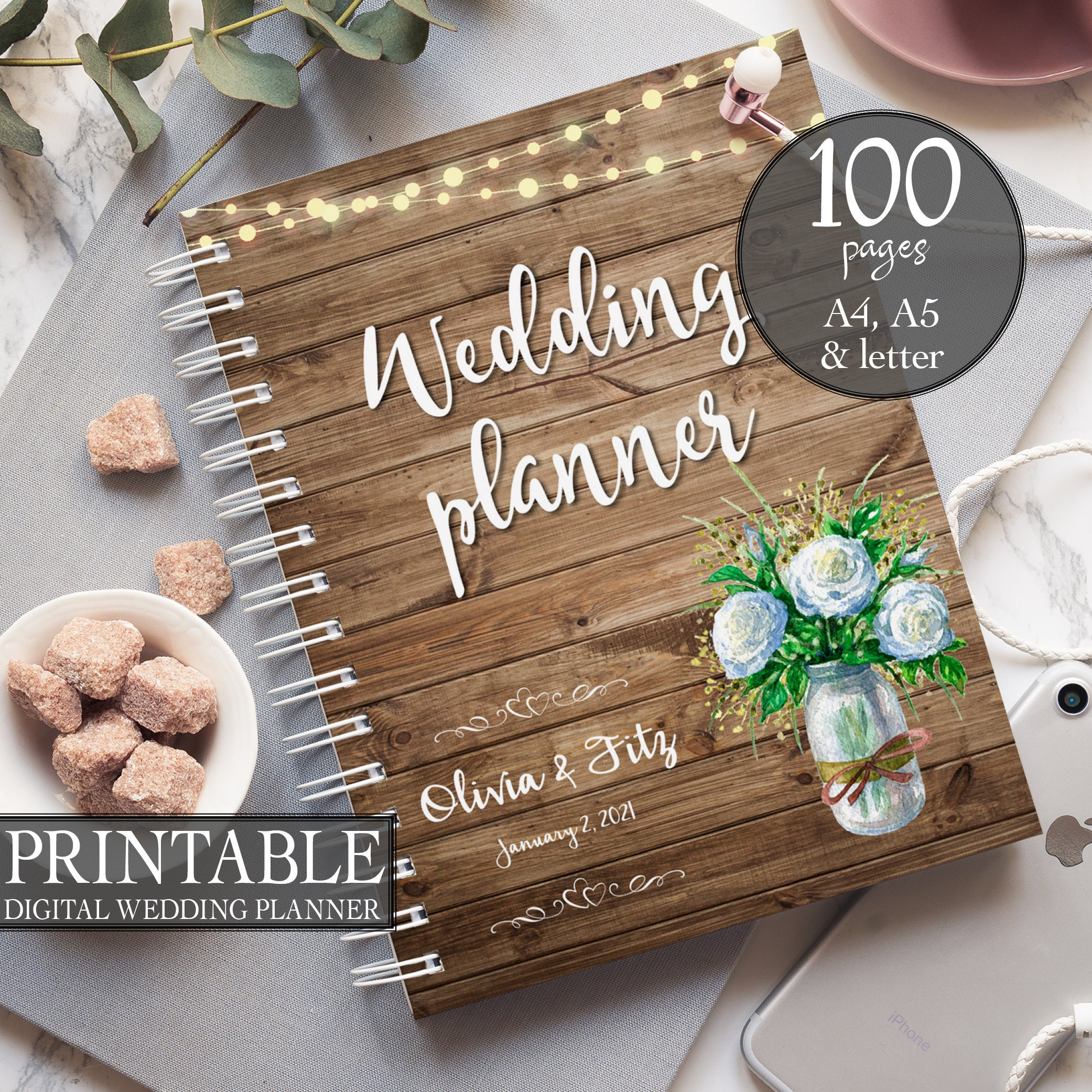 Printable Wedding Planner Instant Download Wedding Planner Rustic