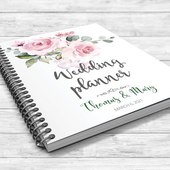 Peach rose wedding planner, Pink wedding planning book,  Boho floral planner, Rose gold floral binder, Bridal shower gift, Wedding planner
