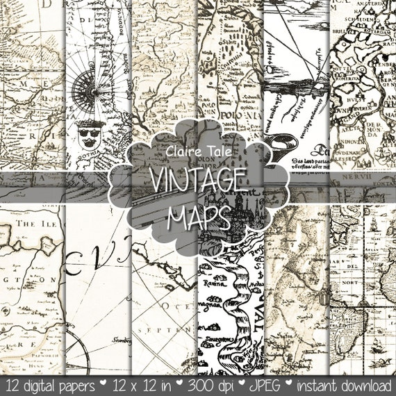"Vintage maps digital paper: ""VINTAGE MAPS"" backgrounds, antique maps, old world, globe, America, Europe, vintage antique map sheets"