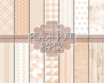 Peach digital paper, Peach printable paper, Peach digital pattern, Peach scrapbooking paper, Peach printable party invitation background