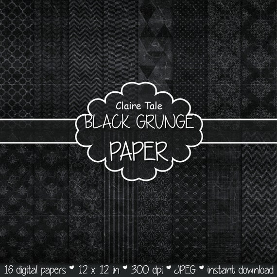 "Black digital paper: ""BLACK GRUNGE PAPER"" with chevrons, crosshatch, stripes, damask, polka dots / black vintage paper / black shabby chic"
