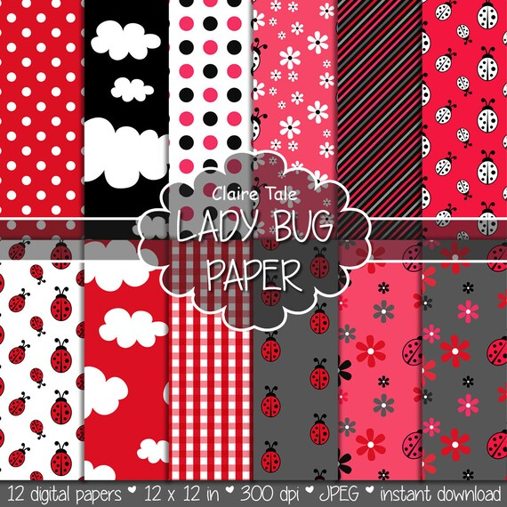 """Lady bug digital paper: """"LADY BUG"""" paper pack with lady bug / lady birds, clouds, flowers, polka dots and gingham in red and black"""