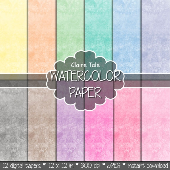 "Watercolor digital paper: ""WATERCOLOR PAPER"" watercolor backgrounds in yellow, orange, green, turquoise, blue, pink, purple, brown and black"