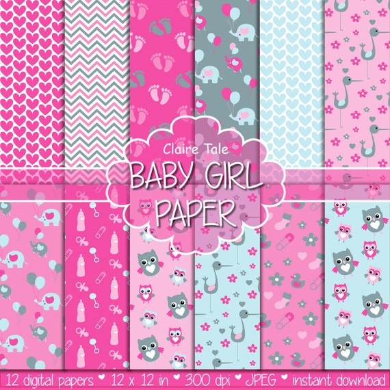 "Baby digital paper: ""BABY GIRL PAPER"" with elephants, foot print, hearts, rattles, baby bottles, owls, storks, safety pins in pink and grey"