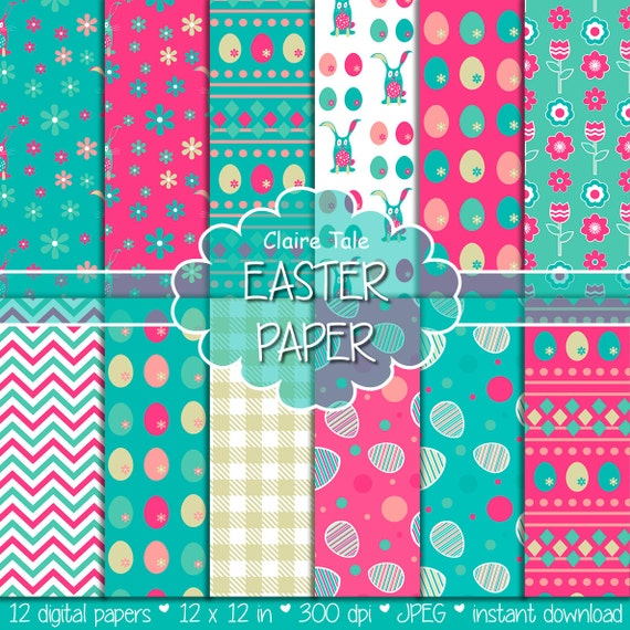 "Easter digital paper: ""EASTER PAPER"" with easter eggs, bunnies, flowers, tulips, chevrons, gingham pattern in pink, blue and gold"