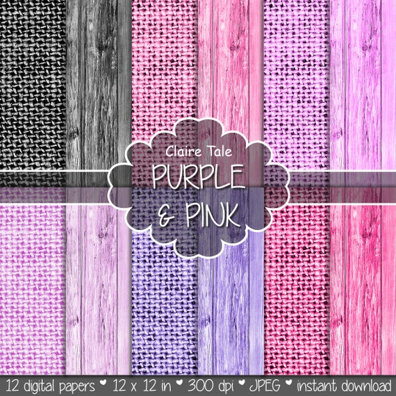 """Linen and wood digital paper: """"Purple & pink LINEN AND WOOD"""" with wood and linen background texture in pink, violet, orchid, purple, black"""