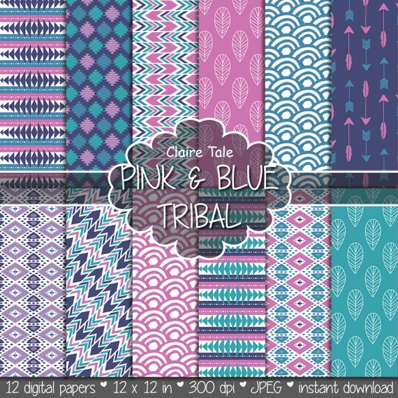 """Tribal digital paper: """"PINK & BLUE TRIBAL"""" with tribal patterns and tribal backgrounds, arrows, feathers, leaves, chevrons in blue and pink"""