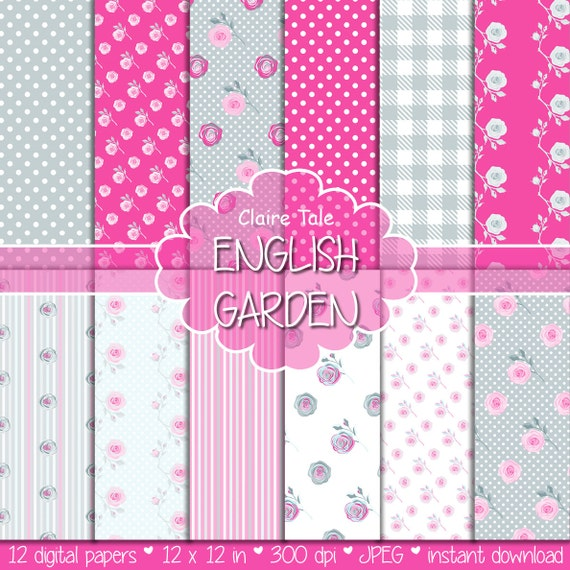 "Shabby chic digital paper: ""ENGLISH GARDEN"" with roses, polka dots, stripes, gingham in pink and blue shabby chic background"