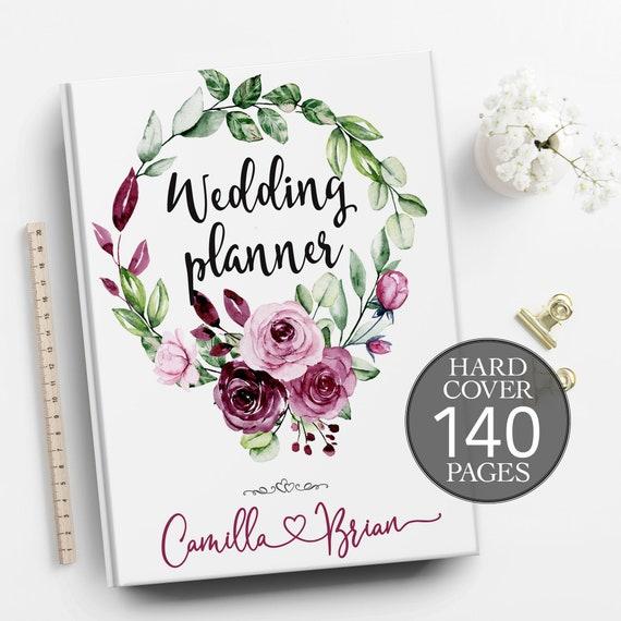 Engagement gift, Burgundy plum roses wedding planner, Boho wedding planner, Bridal shower gift, Plum wedding planner, Spring summer planner