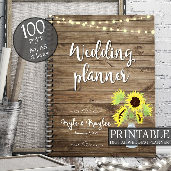 Sunflower wedding binder, Printable wedding planner, Rustic wedding binder, DIY wedding binder, Wedding checklist,  Wedding to do list