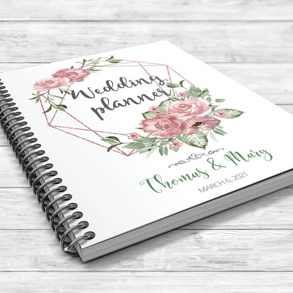 Dusty rose wedding planner, Geometric wedding planning book,  Boho floral planner, Rose floral binder, Bridal shower gift, Wedding planner