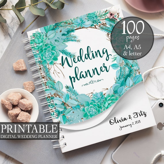 Winter wedding planner, Succulent printable planner, Greenery wreath binder, DIY wedding planner, Wedding PDF, Wedding organiser, checklist