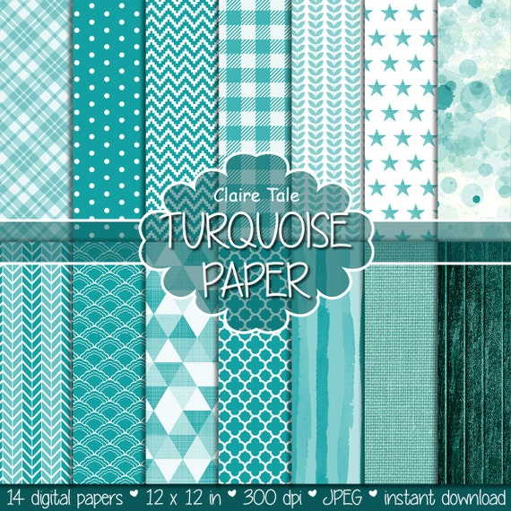 Turquoise digital paper, Turquoise  printable paper, Turquoise digital pattern, Turquoise scrapbooking paper, Turquoise digital background