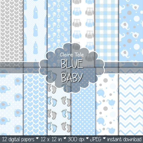 "Baby digital paper: ""BLUE BABY"" with elephants, foot print, hearts, rattles, baby bottles, owls, gingham, polka dots in blue and grey"