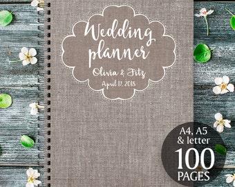 Linen wedding planner, Linen wedding kit, Linen wedding organizer, Linen wedding checklist, Printable wedding planner, PDF wedding planner