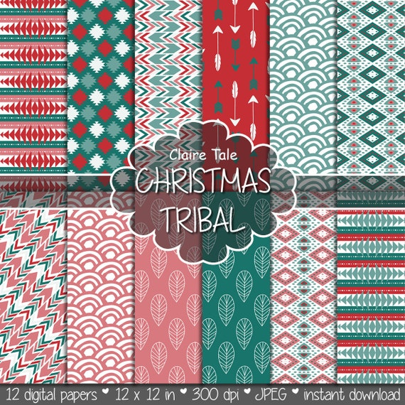 """Tribal digital paper: """"CHRISTMAS TRIBAL"""" with tribal patterns and background, arrows, feathers, leaves, chevrons in christmas red and green"""
