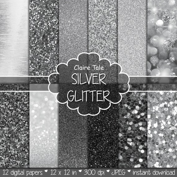 "Silver digital paper: ""SILVER GLITTER""  silver paper backgrounds with shiny texture in different shades of silver / silver  backdrop"