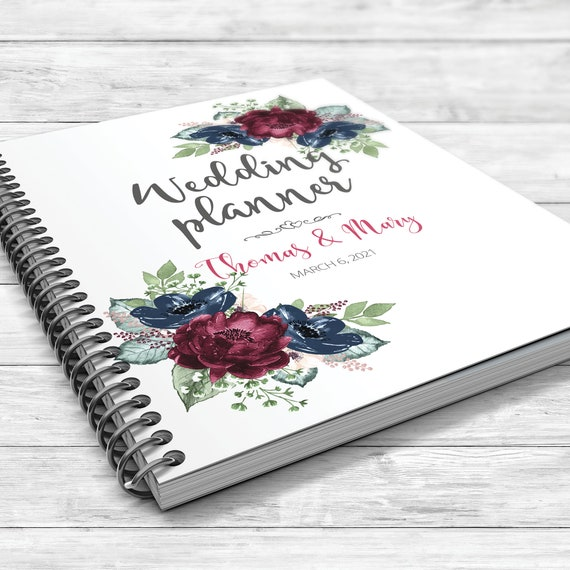Burgundy blue wedding planner, Floral wedding planner, Bridal shower gift, Boho wedding planner, Personalised wedding planner, Blue burgundy