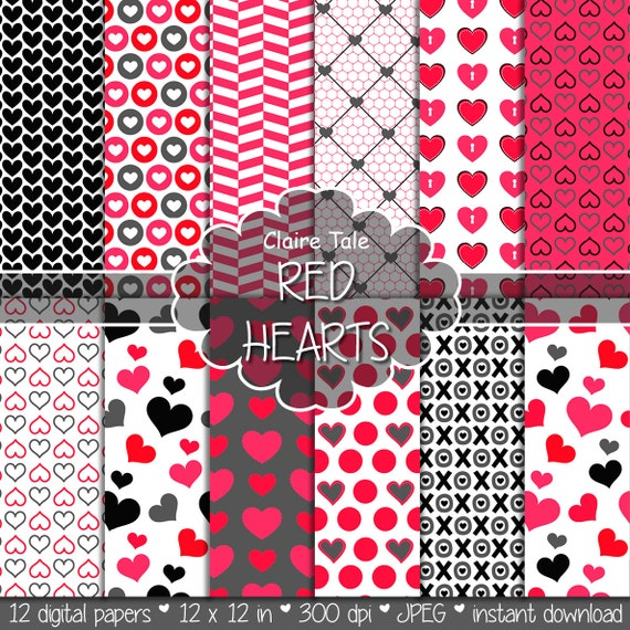 "Valentine's day digital paper: ""RED HEARTS"" valentine's day backgrounds with hearts in red and black / valentine's hearts patterns"
