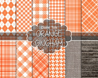 Orange gingham digital paper, Orange printable tartan, Orange digital background, Orange digital rhombus, Orange printable invitation paper