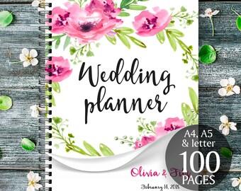 Floral wedding planner, Boho printable planner, Roses wreath binder, DIY wedding planner, Digital wedding kit, Wedding organiser, checklist
