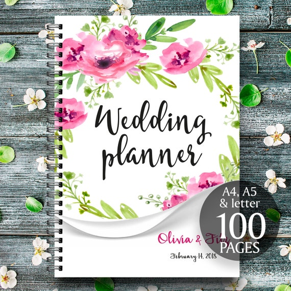 Floral wedding planner, Boho printable planner, Roses wreath binder, DIY wedding planner, Digital wedding kit, Wedding organiser, checklist