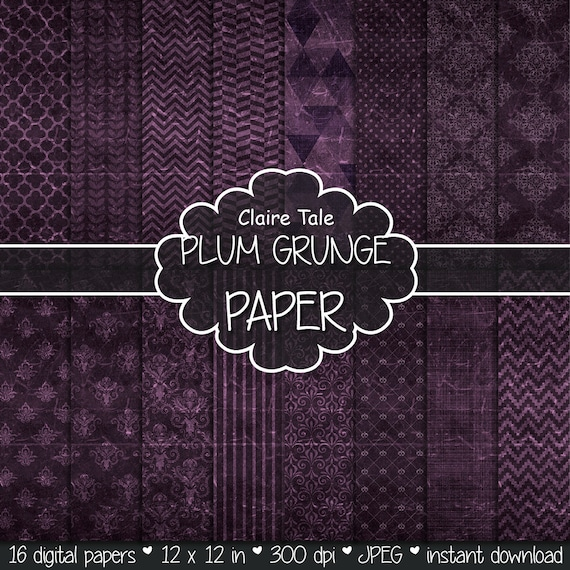 "Plum digital paper: ""PLUM GRUNGE PAPER"" with chevrons, crosshatch, stripes, damask, polka dots / plum vintage paper / plum shabby chic"