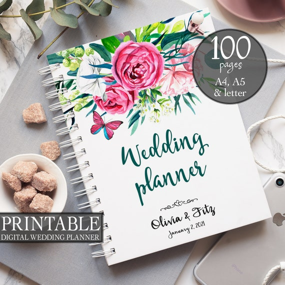 Printable wedding planner, Instant download wedding planner, Floral wedding planner, Wedding binder, Wedding organiser, Wedding checklist