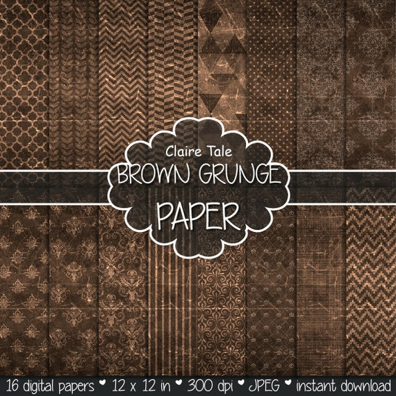 "Brown digital paper: ""BROWN GRUNGE PAPER"" with chevrons, crosshatch, stripes, damask, polka dots / brown vintage paper / brown shabby chic"