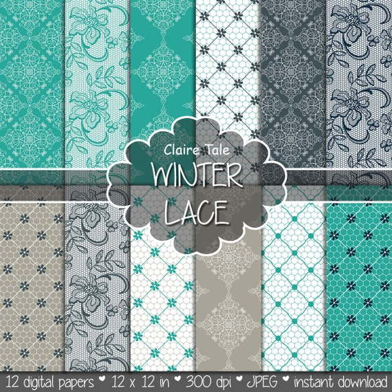 "Lace digital paper: ""WINTER LACE"" with turquoise, beige, grey lace background / lace texture / lace sheet / winter wedding lace background"