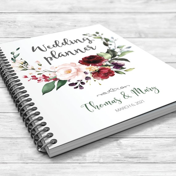 Burgundy boho wedding planner, Floral wedding planner, Bridal shower gift, Boho wedding planner, Fall wedding planner, Peach burgundy book