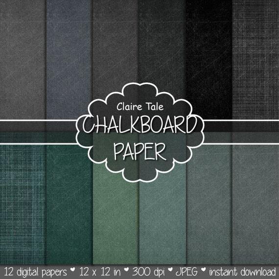 """Chalkboard digital paper: """"CHALKBOARD PAPERS"""" with chalkboard backgrounds in gray, black, green, chalkboard texture, schoolboard"""