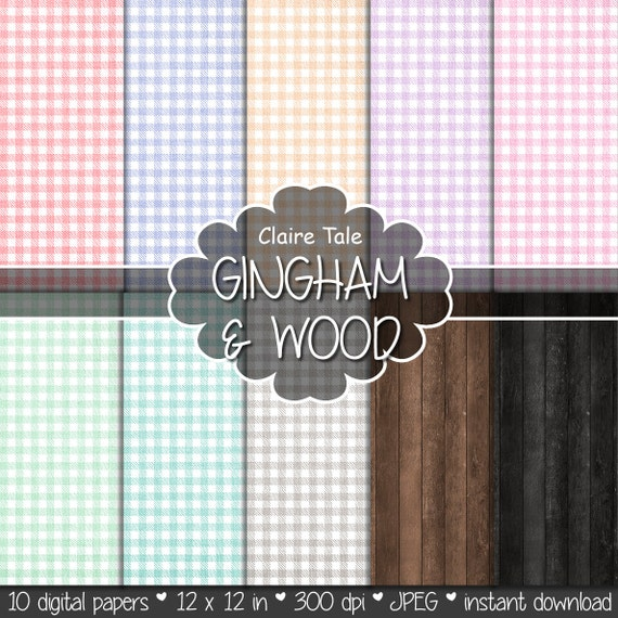 "Gingham and wood digital paper: ""LINEN GINGHAM & WOOD"" with red, blue, orange, purple, pink, green, teal, brown gingham on linen background"