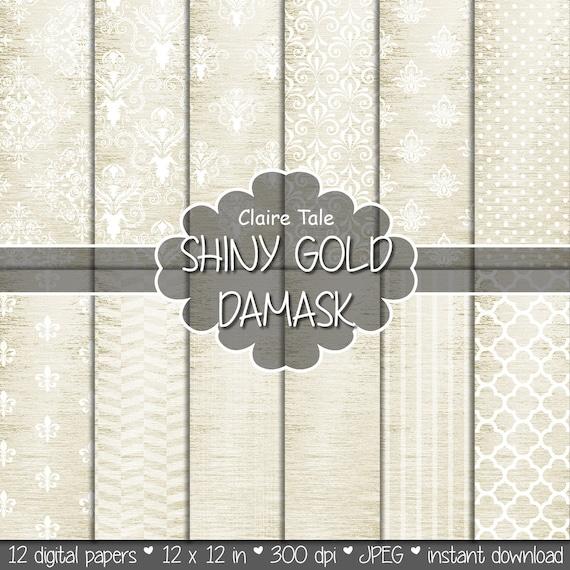 """Gold damask digital paper: """"SHINY GOLD DAMASK"""" with classic damask pattern, fleur de lis, quatrefoil, stripes, polka dots on gold background"""