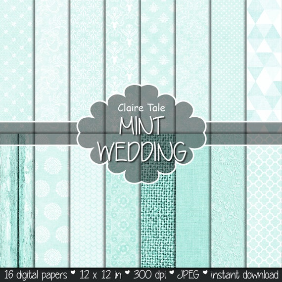 Mint wedding paper, Mint digital paper, Mint printable background, Mint wedding printable invitation paper, Mint scrapbooking cards paper