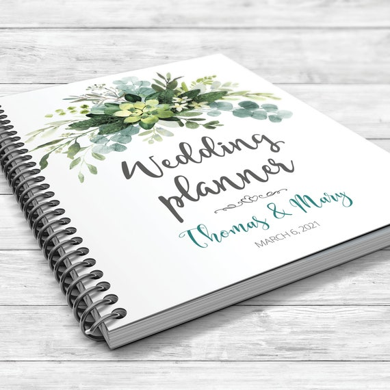 Greenery wedding planner, Eucalyptus wedding planning book, Eucalyptus greenery binder, Bridal shower gift, Bohemian wedding planner