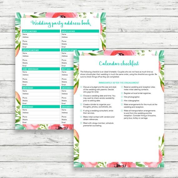 bohemian wedding planner diy wedding binder wedding etsy