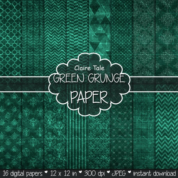 "Green digital paper: ""GREEN GRUNGE PAPER"" with chevrons, crosshatch, stripes, damask, polka dots / green vintage paper / green shabby chic"