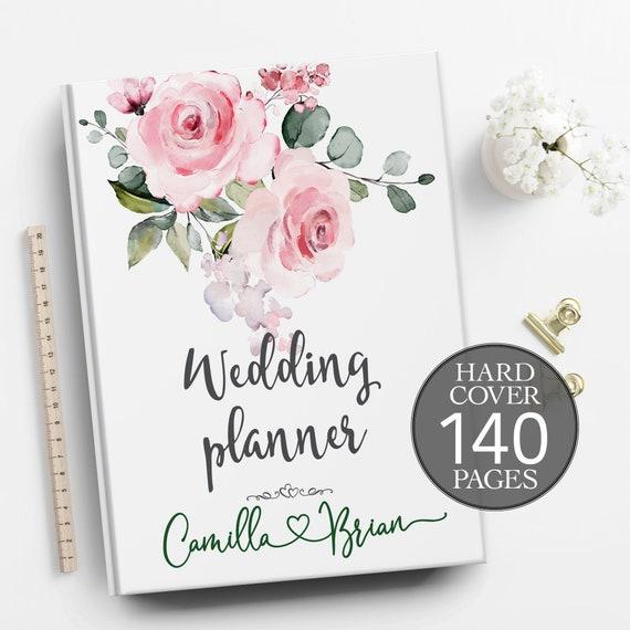 Baby pink wedding planner, Pink wedding planning book,  Boho floral planner, Engagement gift, Bridal shower gift, Wedding planner