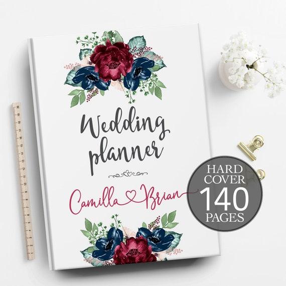 Wedding book, Burgundy blue wedding planner, Engagement gift, Bridal shower gift, Boho wedding planner, Personalised wedding planner
