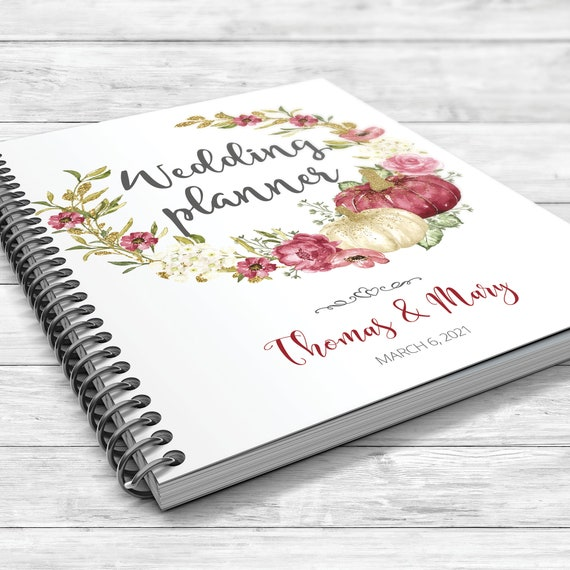 Autumn wedding planner, Marsala pumpkin wedding book, Boho autumn wedding, Bridal shower gift, Wedding planner, Floral boho wedding planner
